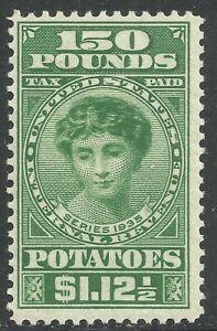 U.S. Revenue Potato Tax stamp scott ri12 - $1.12 1/2 cents/150 pounds - mlh - #5