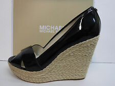 Michael Kors Size 9.5 Black Patent Leather Wedge Heels New Womens Shoes