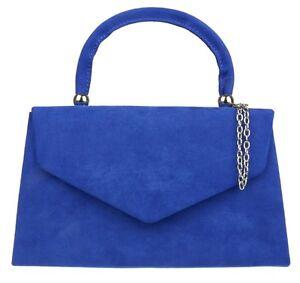 New Faux Suede Clutch Bag Top Handle Plain Handbag Womens Fashion Evening Retro