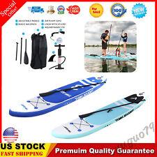 10' Inflatable Surfboard Paddle Board Adjustable Fin Paddle Light/Dark Blue