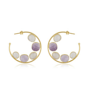 Natural Moonstone Amethyst Gemstone Womens Hoop Earring Handmade Jewelry