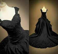Gothic Black Wedding Dresses Lace-Up A-Line Bridal Gowns Beaded Appliques Custom