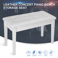 Concert Piano Bench Keyboard Storage Seat Portable Solid Wood Deluxe Padded