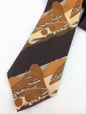 True Vintage Mens Necktie Kipper Wide Neck Tie Brown Country Scenery Stripe Tree