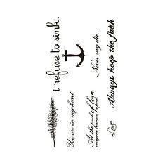 Black Love & Letter Transfer Waterproof Temporary Tattoo Body Art Sticker UU4