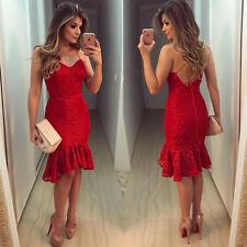 Sexy Mujeres Encaje Noche Cóctel Fiesta Vestido Ceñido al cuerpo de Halter Midi Sin Espalda Rojo