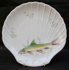 Limoges porcelaine de Sologne DECORE SHELL Plaque Avec Natation brochet poisson