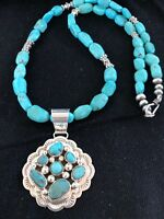 """Navajo Sterling Silver Blue Turquoise Necklace Cluster Pendant 24"""""""