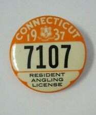 1937 CONNECTICUT Resident Angling License Pin Back Button Badge, Fishing