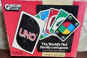 GIBSONS GAMES UNO CARD GAME RARE 1985 FAMILY FUN VINTAGE