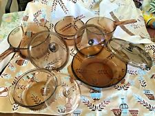 Vintage Corning-Anchor-Hocking Vision Ware Amber Amber/Brown Cookware 9/pc Set