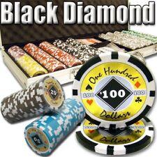 Poker Chip Set 500 Count 14g Black Diamond Chip - Alum CaseNew With Cards Dice