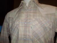 VINTAGE DEADSTOCK LEVIS PERAL SNAP WESTERN SHIRT made in USA LARGE