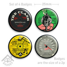 "THE CLASH Radio Hammersmith Fought the Law Vinyl PUNK -  1"" Badge x4 Badges NEW"