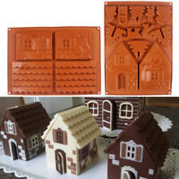 LN_ EG_ BA_ 2PCS/SET 3D CHRISTMAS HOUSE SILICONE CAKE MOLD MOULD DIY BAKING TO
