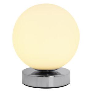 LED Globe Desk Lamp Chrome Base Frosted Bedside Ball Table Lamp H3003