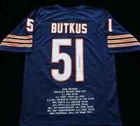Dick Butkus Autographed Blue Stat Football Jersey Beckett COA Chicago Bears Star