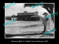 OLD LARGE HISTORIC PHOTO OF CLONCURRY QLD, VIEW OF SMITHS GENERAL STORE 1952