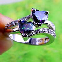 Rainbow & White Topaz Amethyst Gemstone Silver Ring Size 6 7 8 9 10 Ring Jewelry