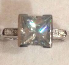 1.71CT  Princess Cut  Moissanite & Natural Diamonds SI Engagement Ring