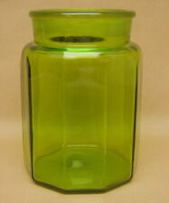 Vintage Green Glass Ground Top Apothecary Jar Heavy Canister Candy General Store