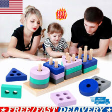 Wooden Shape Sorting Game Math Geometry Cognitive Building Kids Puzzle  Toys