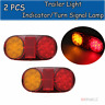 2x Oval Tail LED Trailer Light Side Marker Lamp For Truck Boat Ute 10-30V 12V 24