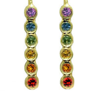 E048 Real 9K Yellow,Rose or White Gold Rainbow Sapphire Pride Journey Earrings
