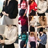 Women Satin Shirts Turn Down Collar Long Sleeve Office OL Blouse Work Top Tees