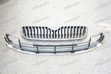 Chrome Upper & Lower Front Bumper Grills Grilles Kits For Skoda Superb 2009-2013