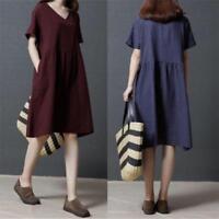 Korean Vintage Women Cotton Linen V Neck Plaids Loose Casual Tunic Maxi Dress