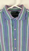 Polo Ralph Lauren Mens Size XL Multi Color Striped Estate Sport Button Up Shirt