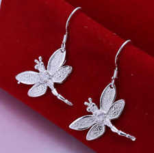 Womens 925 Sterling Silver CZ Crystal Dragonfly Drop Dangle Pierced Earrings E92