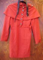 Orange fitted dress/coat NWOT wool lined winter size 6-8