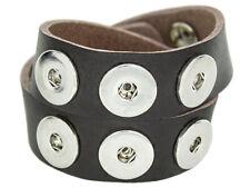 Doppeltes Chunk Leder Armband schwarz braun 6 Druckknöpfe Click Button KetteRing