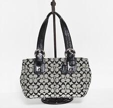 100% Authentic COACH F13117 Soho Signature Black & White Satchel/Shoulder Bag