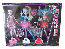 Dot Dead Gorgeous Monster High 3 Doll Pack Set Mattel Abbey Draculaura Ghoulia