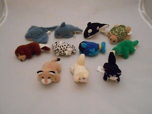 Vintage Pound Puppies, Pound Purries Minis, Lot Of 11, Cats, Fish, Whale, Turtle