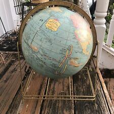 "Vtg Cram's Imperial Blue World Globe Metal Stand Map Home Decor 12"" Geography"