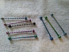 "mixed colors ball ends 1 1/2"" length 8 pcs titanium 14g industrial bars barbells"