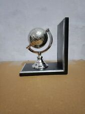 Vintage Brass Silver World Geographic Map Globe Bookend Rotate World Bookend