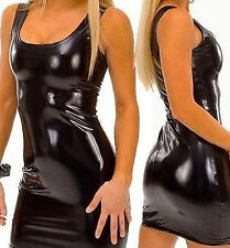 Latex Look Sexy Black Dress Low Neck Sleeveless Thong
