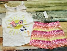 Gymboree 10 Sun Let's Shine Tank Top Heart Knit Shorts Outlet NWT Yellow Pink