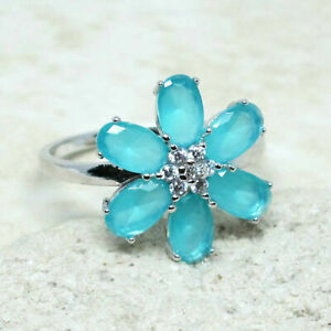UNUSUAL MILKY AQUAMARINE BLUE & WHITE 925 STERLING SILVER RING SIZE 5-10