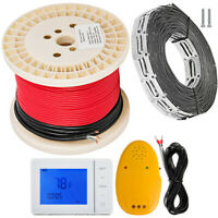 30 sqft Electric Tile Radiant Warm Floor Heated Kit With Thermostat Cable Guides