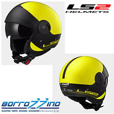 CASCO LS2 OF597 CABRIO VIA GIALLO MATT HI-VIS YELLOW CON VISIERINO PARASOLE TG.M