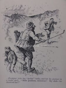 Golf FOREIGN GOLFER PULLED BADLY, MILLE PARDONS MONSIEUR Antique Punch Cartoon