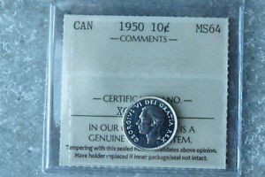 1950 Canada silver ten 10 cents **ICCS MS-64**