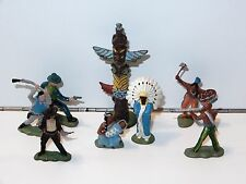 BRITAINS HERALD LOT OF COWBOYS & INDIANS (7X) + TOTEM POLE 1960s HONG KONG