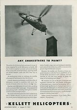 1945 Kellett Helicopter Ad Painting a Smokestack + Other Uses Copter Aviation